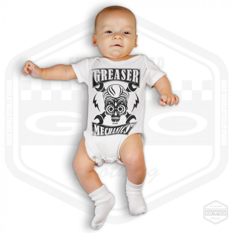 greaser mechanics short sleeve baby body white with black front print model1