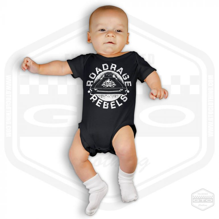 road rage rebels short sleeve baby body black with white front print model1