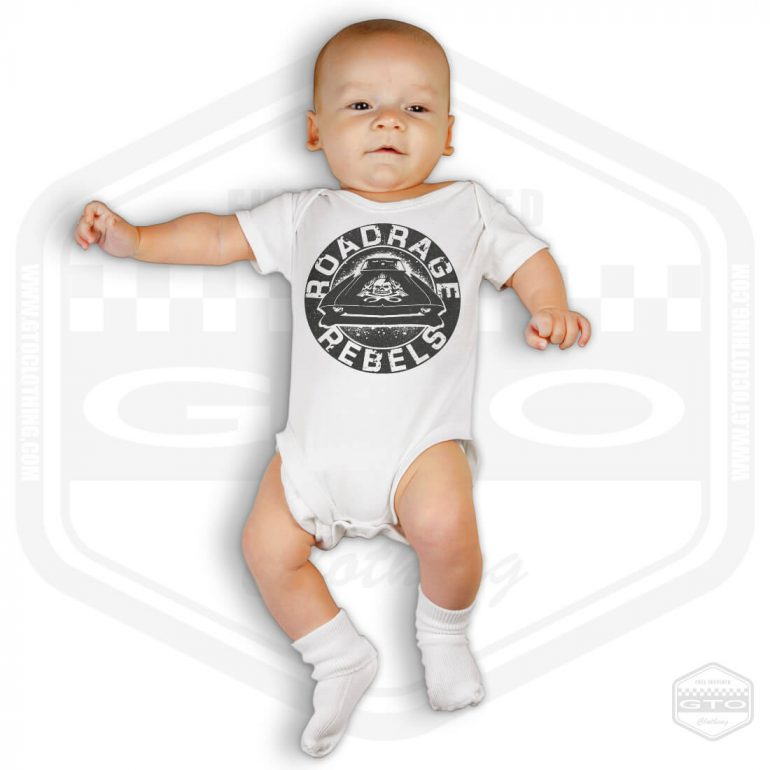 road rage rebels short sleeve baby body white with black front print model1