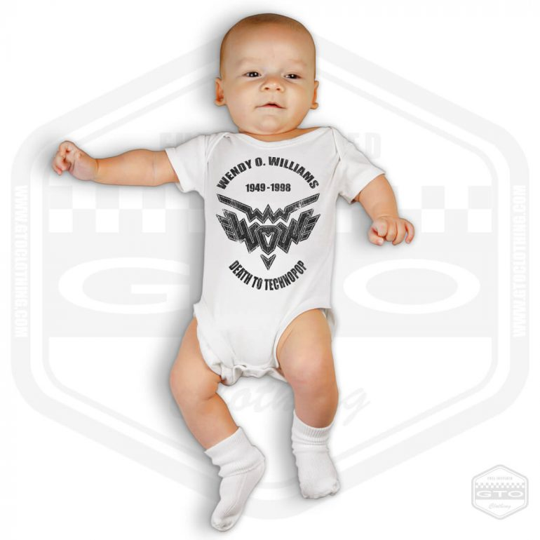 wendy o williams death to technopop tribute short sleeve baby body white with black front print model1