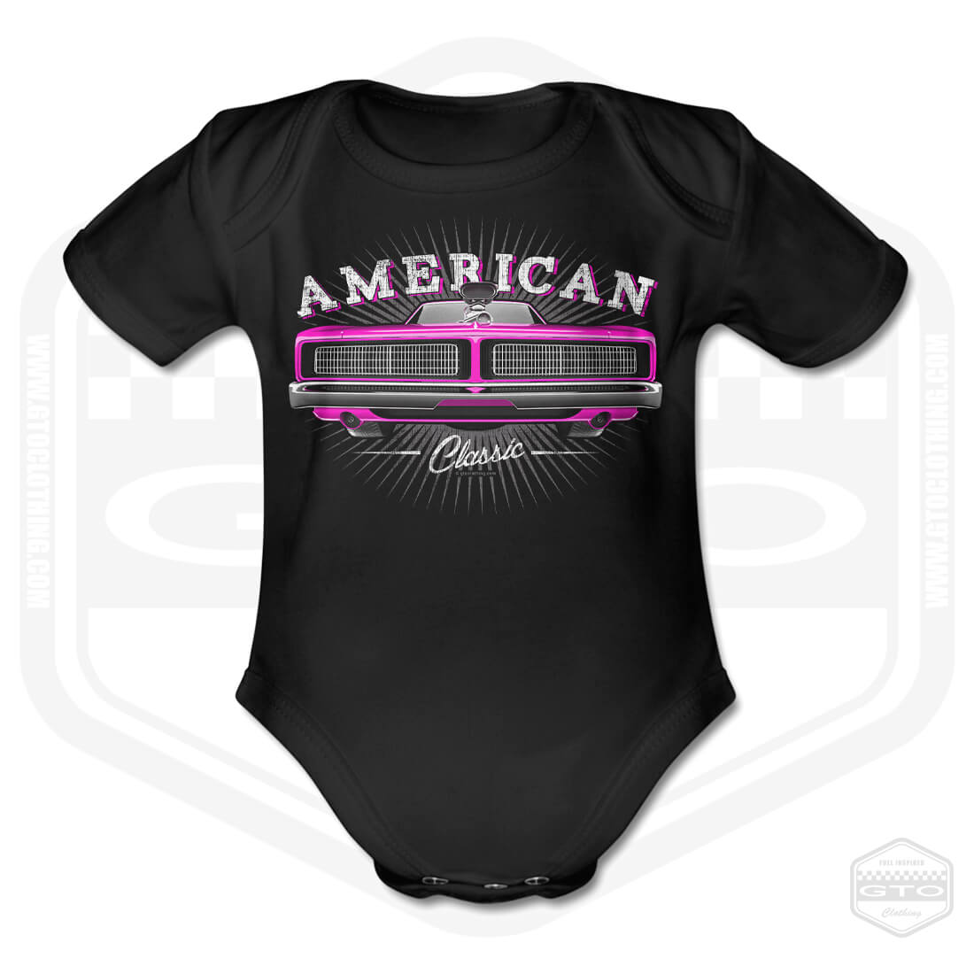 69 Dodge Charger Short Sleeve Baby Body Black Newborn 18 Mo Made In Usa
