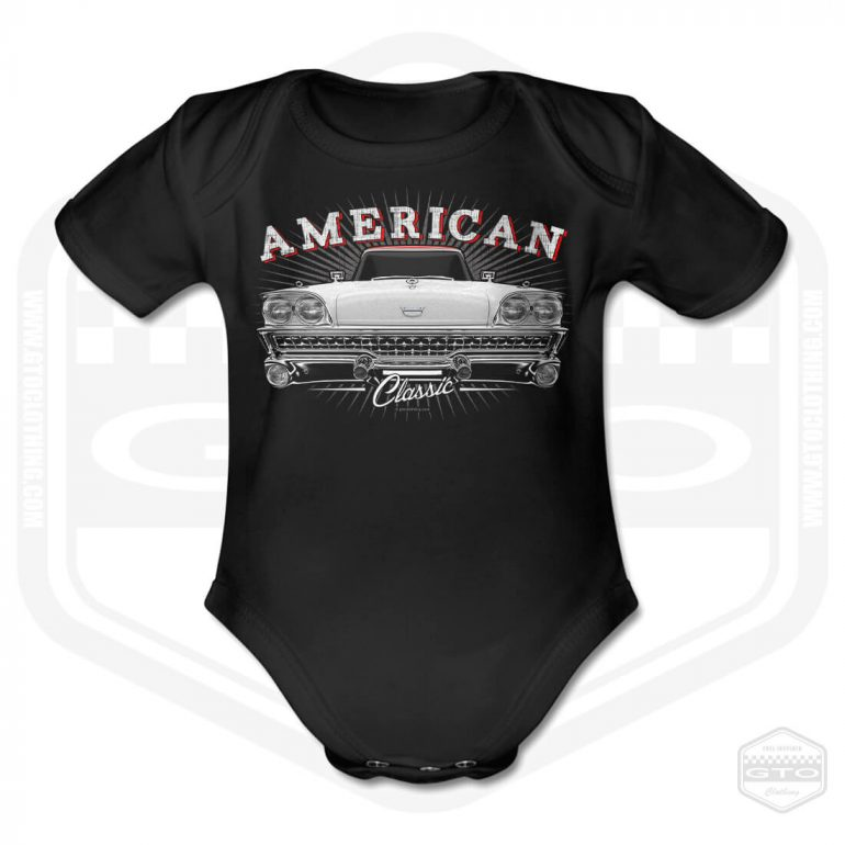 1969 ford fairlane classic short sleeve baby body black with white red front print product