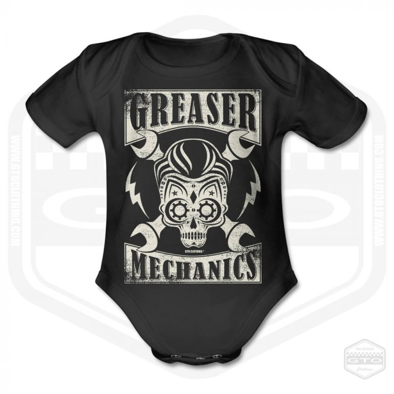 greaser mechanics short sleeve baby body black with white front print product