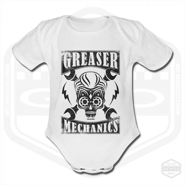 greaser mechanics short sleeve baby body white with black front print product