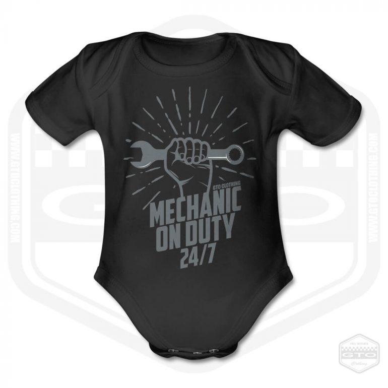 mechanic 24 7 short sleeve baby body black with grey front print product