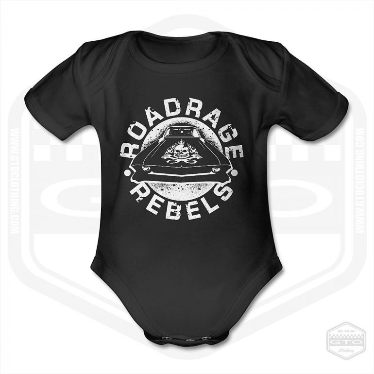 road rage rebels short sleeve baby body black with white front print product
