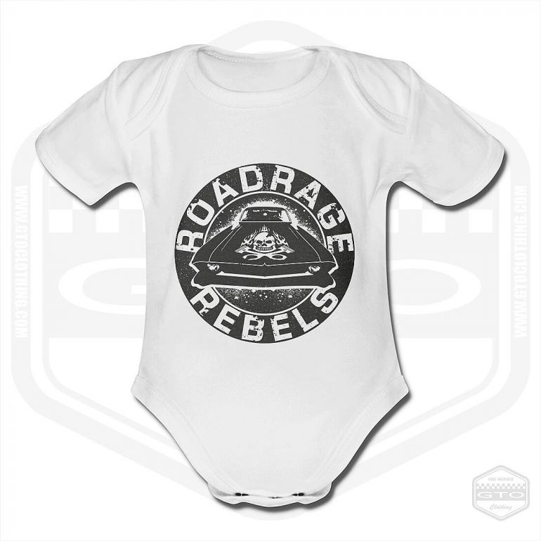 road rage rebels short sleeve baby body white with black front print product