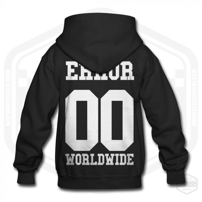 00 error worldwide childrens hoodie black with white back print product