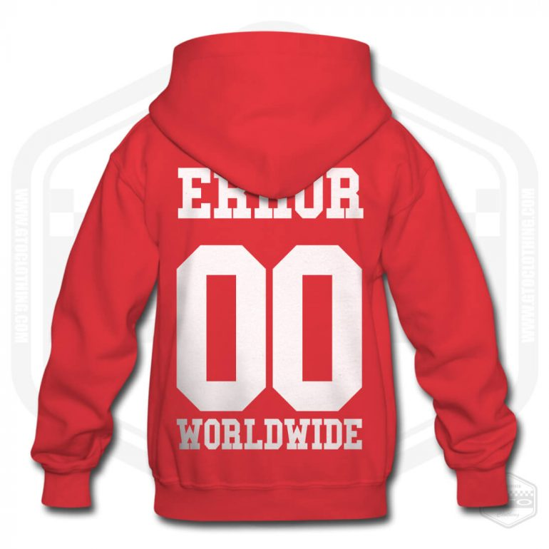 00 error worldwide childrens hoodie red with white back print product