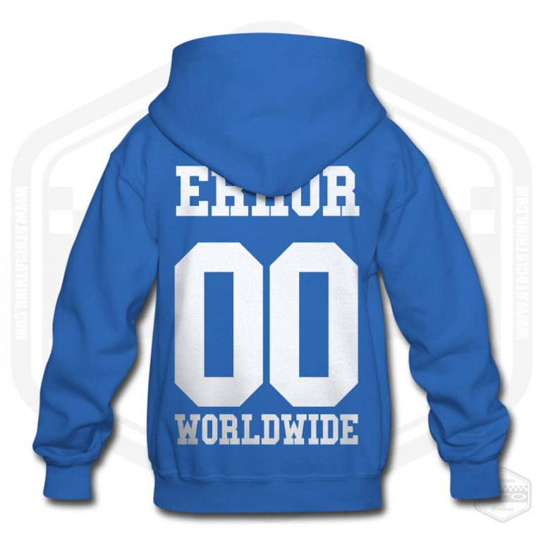 00 error worldwide childrens hoodie royal blue with white back print product
