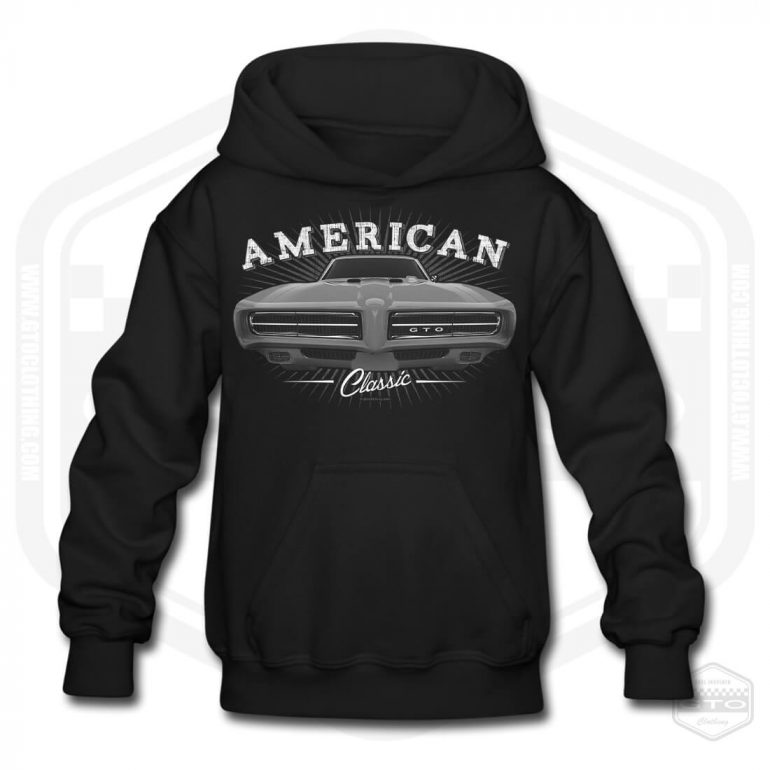 1968 pontiac gto classic childrens hoodie black with black front print product