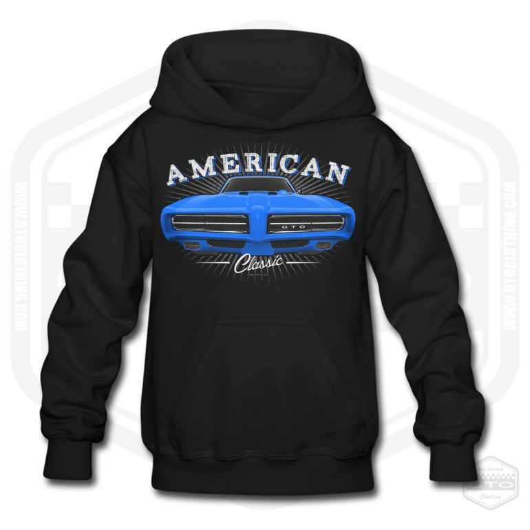 1968 pontiac gto classic childrens hoodie black with blue front print product