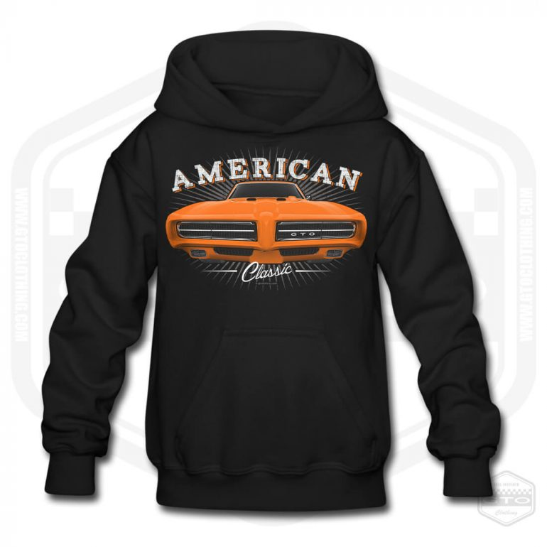 1968 pontiac gto classic childrens hoodie black with orange front print product