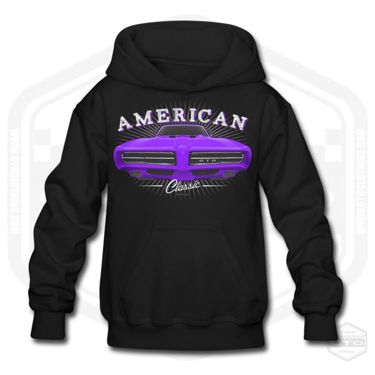 1968 pontiac gto classic childrens hoodie black with purple front print product