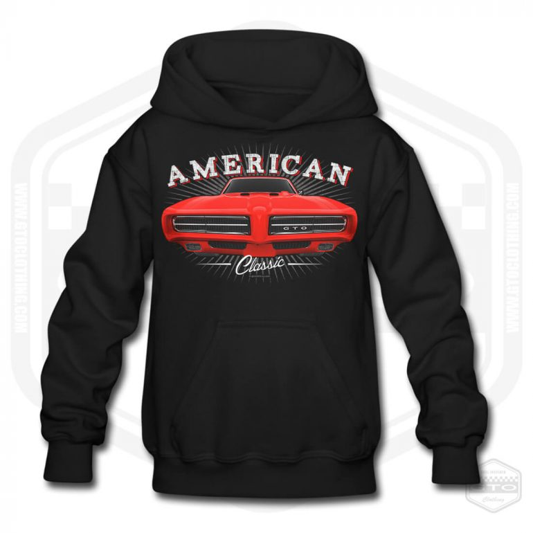 1968 pontiac gto classic childrens hoodie black with red front print product