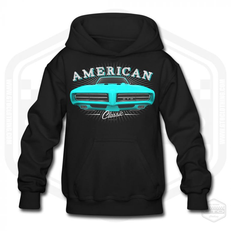 1968 pontiac gto classic childrens hoodie black with turquoise front print product