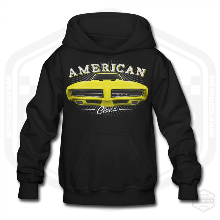 1968 pontiac gto classic childrens hoodie black with yellow front print product