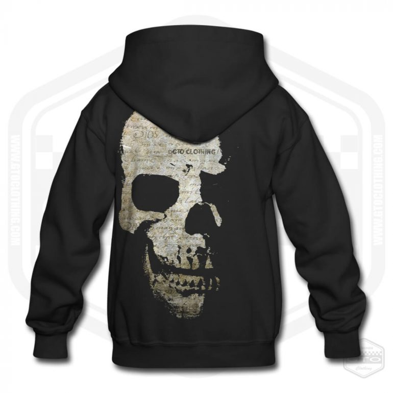 faded scriptures skull childrens hoodie black with brown back print product