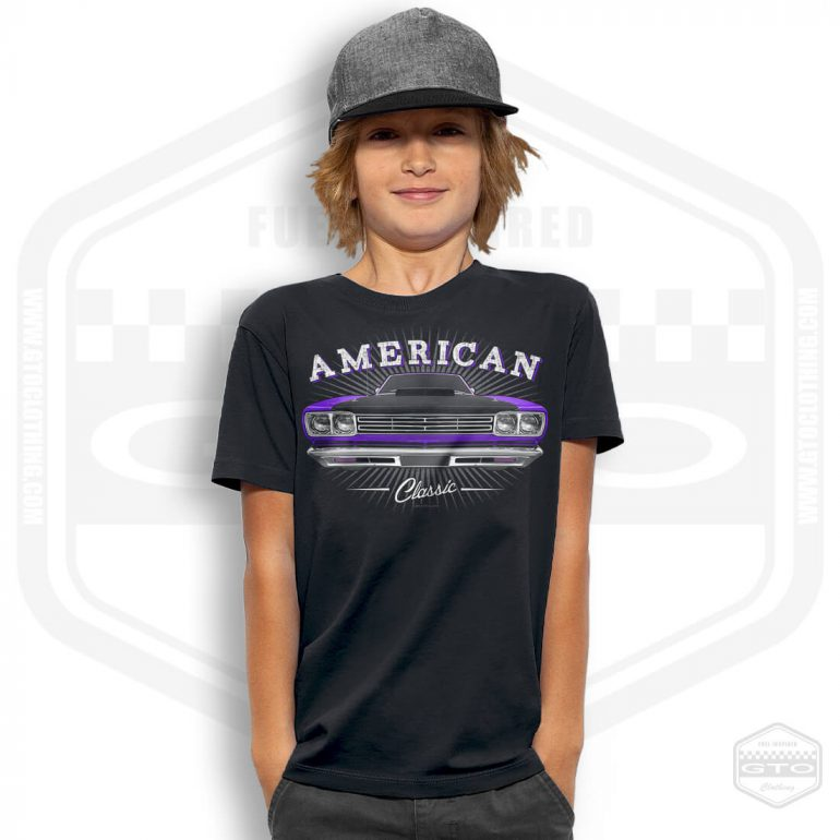 1969 plymouth roadrunner classic childrens t shirt black with purple front print model3
