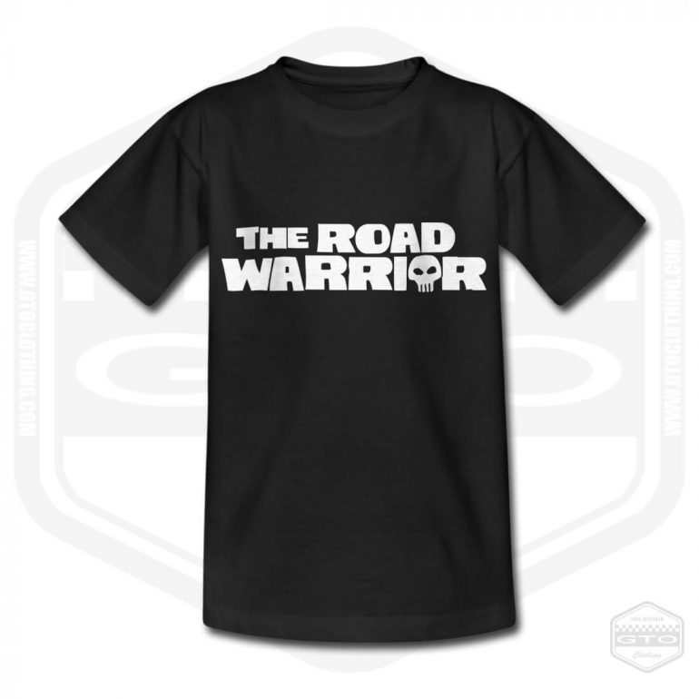 mad max roadwarrior logo childrens t shirt black with white front print product