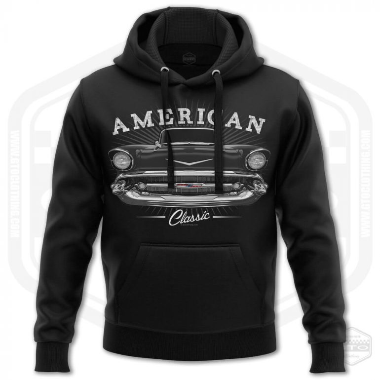1957 chevrolet bel air classic mens hoodie black with black front print product