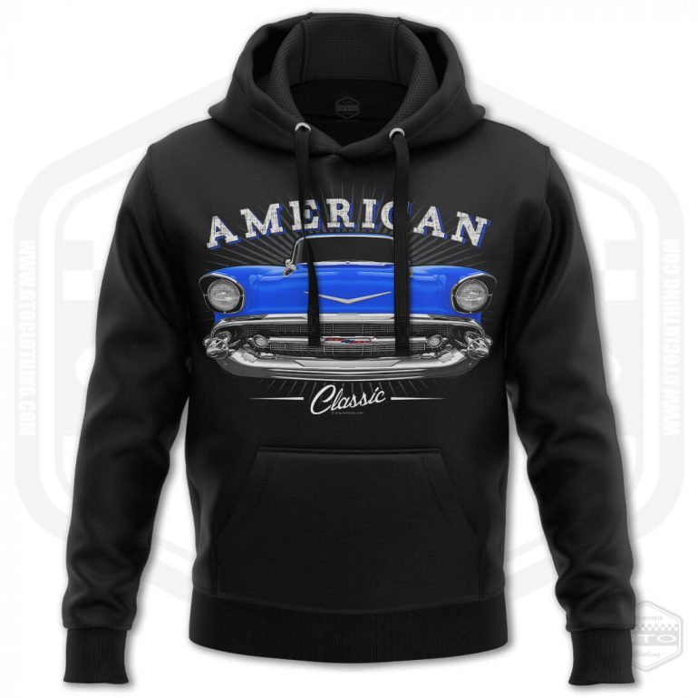 1957 chevrolet bel air classic mens hoodie black with blue front print product