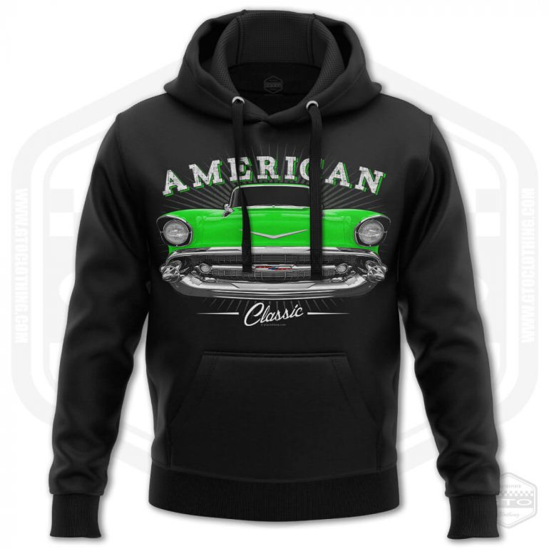 1957 chevrolet bel air classic mens hoodie black with green front print product