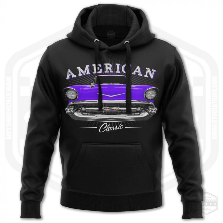 1957 chevrolet bel air classic mens hoodie black with purple front print product