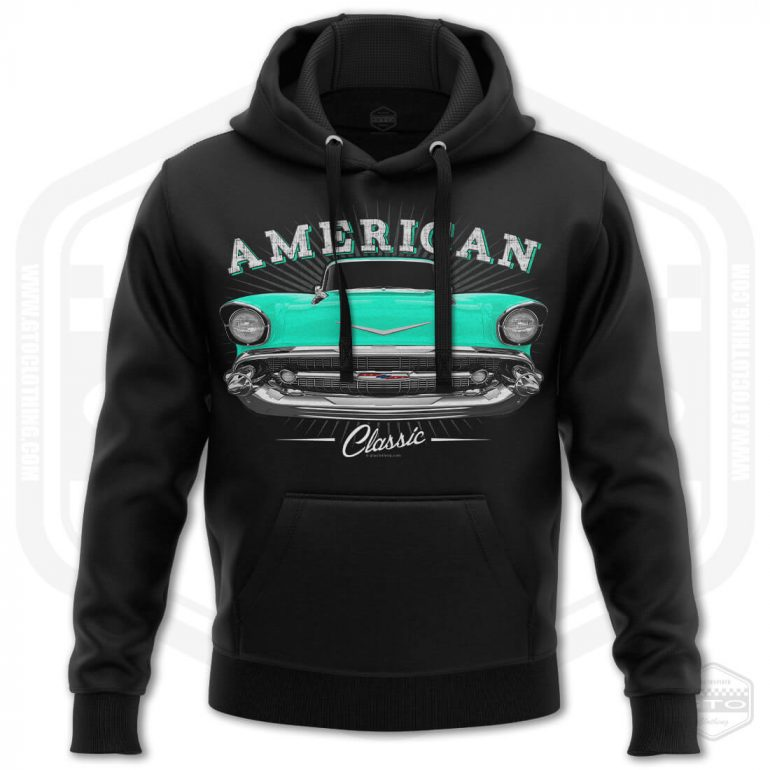 1957 chevrolet bel air classic mens hoodie black with turquoise front print product
