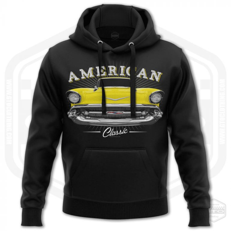 1957 chevrolet bel air classic mens hoodie black with yellow front print product
