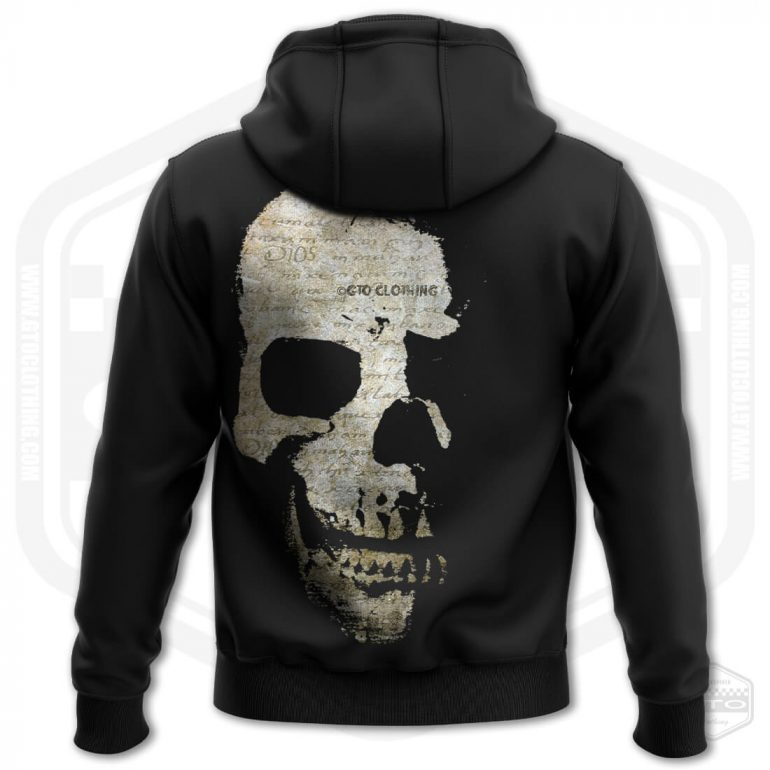 faded scriptures skull mens hoodie black with brown back print product