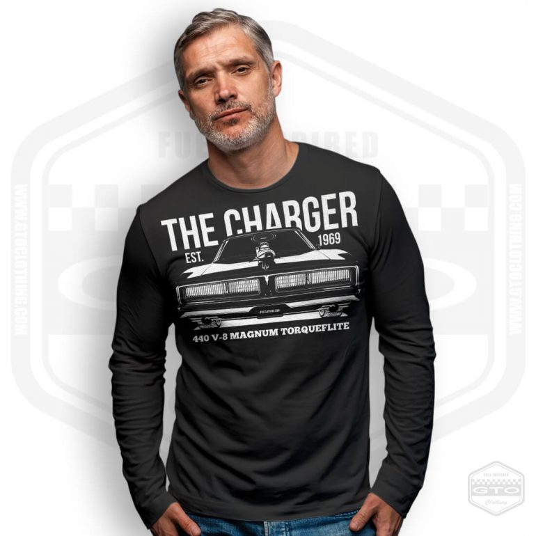 1969 dodge charger 440 magnum mens long sleeve shirt black with white front print model4