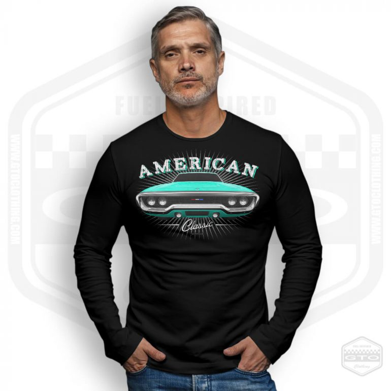 1971 plymouth sattelite classic mens long sleeve shirt black with turquoise front print model3