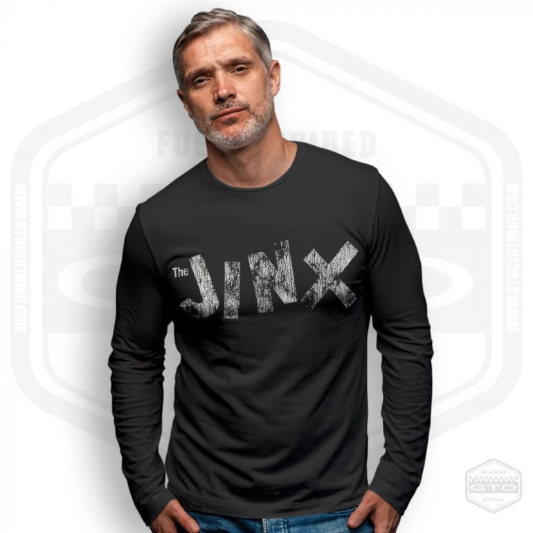 peter and the test tube babies jinx tribute mens long sleeve shirt black with white front print model4