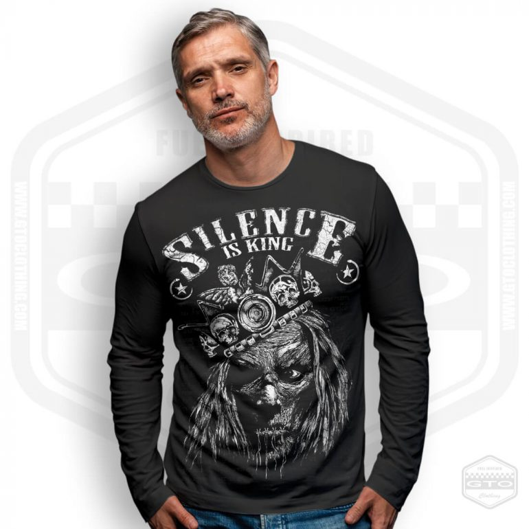 silence is king mens long sleeve shirt black with white front print model4