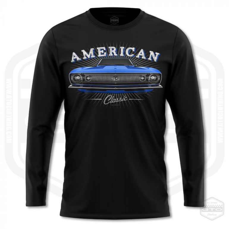 1967 chevrolet camaro classic mens long sleeve shirt black with blue front print product