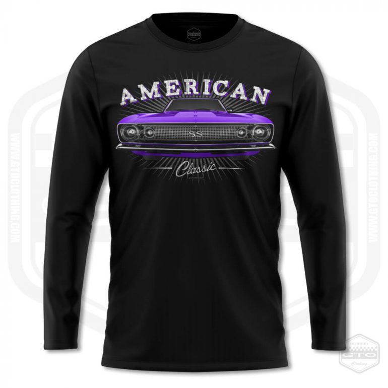 1967 chevrolet camaro classic mens long sleeve shirt black with purple front print product