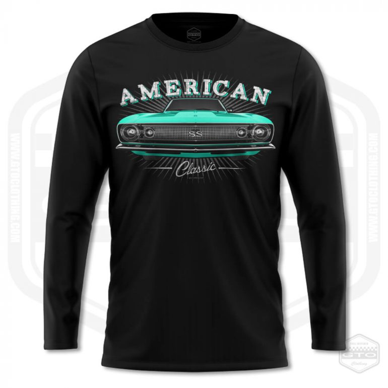 1967 chevrolet camaro classic mens long sleeve shirt black with turquoise front print product