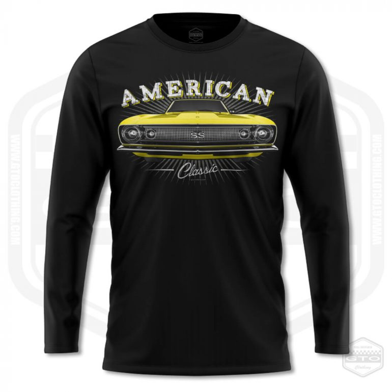 1967 chevrolet camaro classic mens long sleeve shirt black with yellow front print product