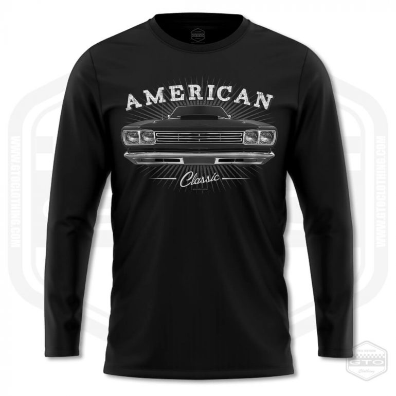 1969 plymouth roadrunner classic mens long sleeve shirt black with black front print product