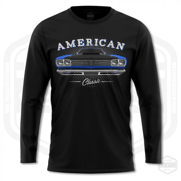 1969 plymouth roadrunner classic mens long sleeve shirt black with blue front print product