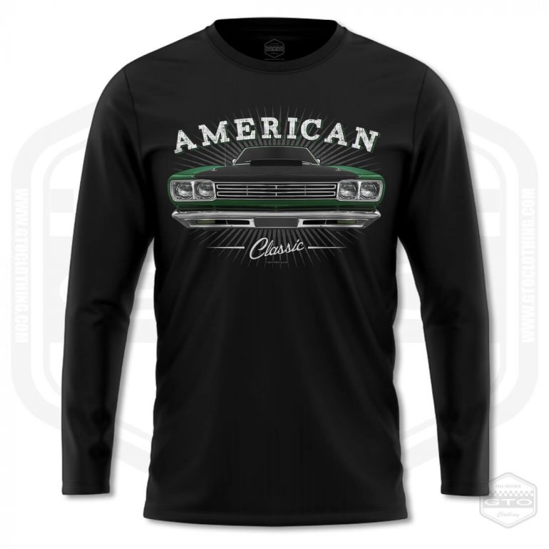 1969 plymouth roadrunner classic mens long sleeve shirt black with green front print product
