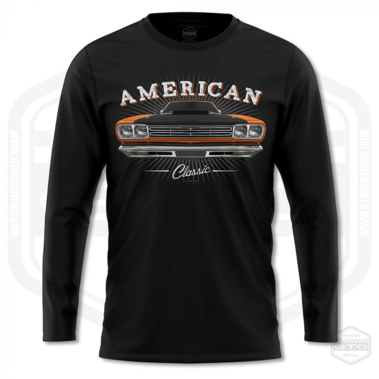 1969 plymouth roadrunner classic mens long sleeve shirt black with orange front print product