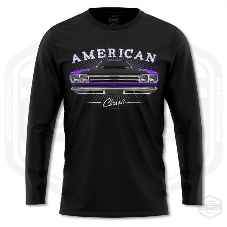 1969 plymouth roadrunner classic mens long sleeve shirt black with purple front print product