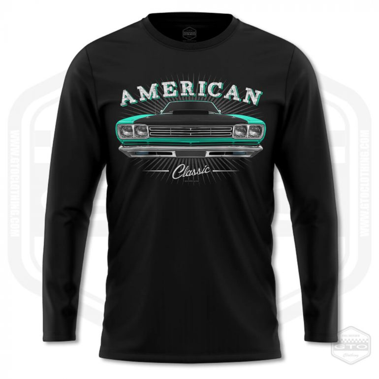 1969 plymouth roadrunner classic mens long sleeve shirt black with turquoise front print product