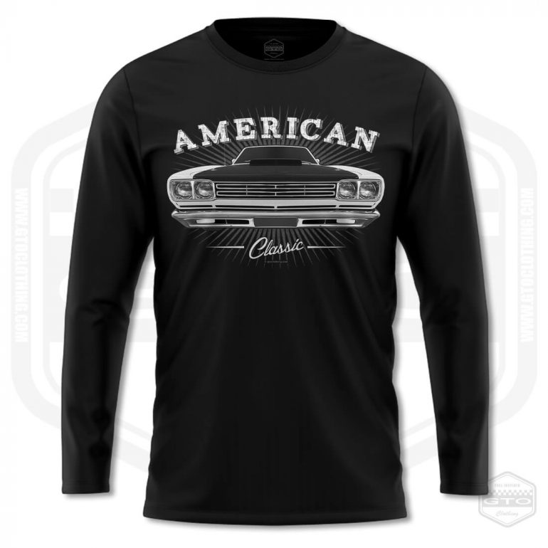 1969 plymouth roadrunner classic mens long sleeve shirt black with white front print product