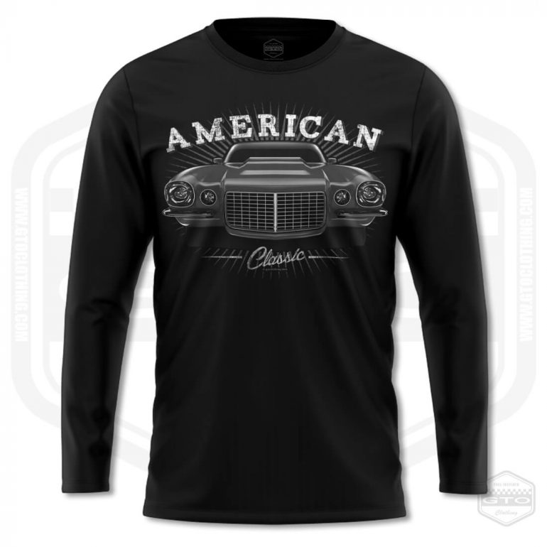 1970 chevrolet camaro classic mens long sleeve shirt black with black front print product