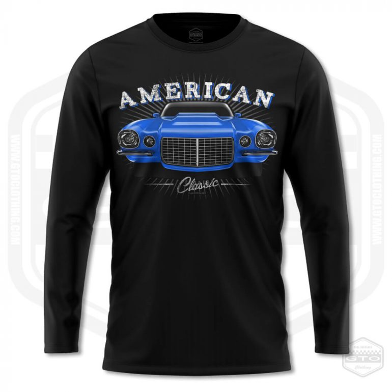 1970 chevrolet camaro classic mens long sleeve shirt black with blue front print product