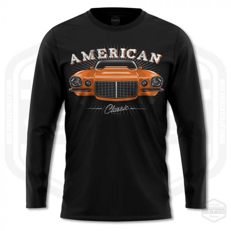 1970 chevrolet camaro classic mens long sleeve shirt black with orange front print product