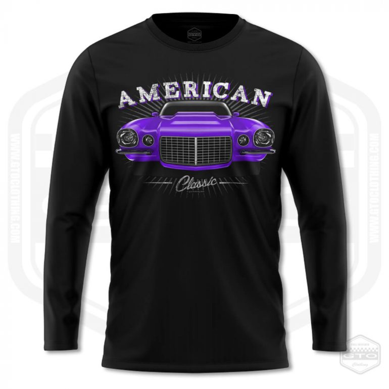 1970 chevrolet camaro classic mens long sleeve shirt black with purple front print product